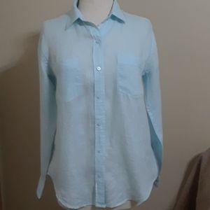 Gap 100% linen eggshell blue long sleeve top